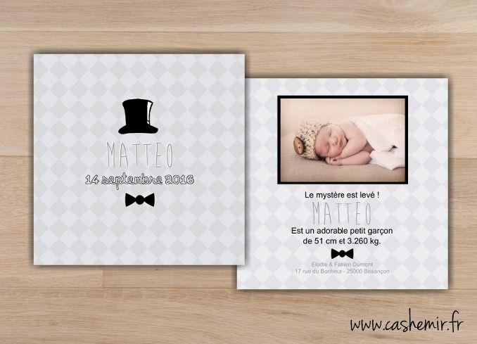 Faire-part de naissance, garçon, bébé - Fichier Imprimable - n°43 monsieur, homme, chapeau, noeud papillon, chic : Faire-part par cashemir