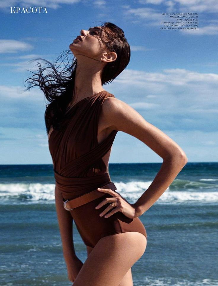 The brunette model poses in brown swimsuit with ruched detail for Harper's Bazaar Kazakhstan Magazine July 2016 issue