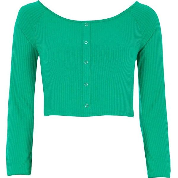 River Island Green popper bell sleeve bardot crop top ($36) ❤ liked on Polyvore featuring tops, crop tops / bralets, green, women, ribbed top, cut-out crop tops, long tops, long bralette top and ribbed crop top