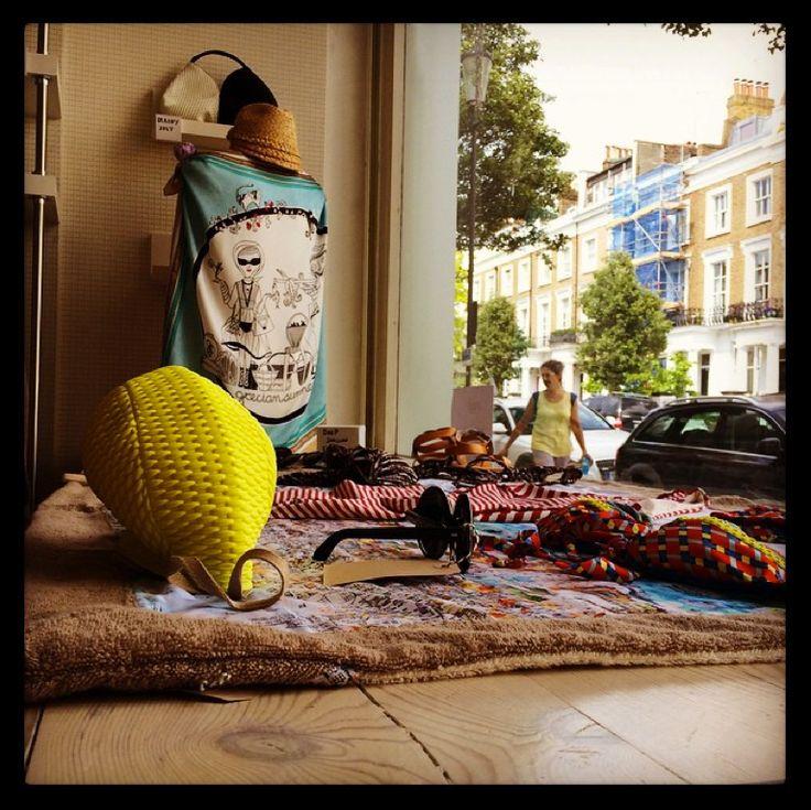 "MONO Pop Up Store window, featuring the ""Grecian Summer"" silk scarf!"