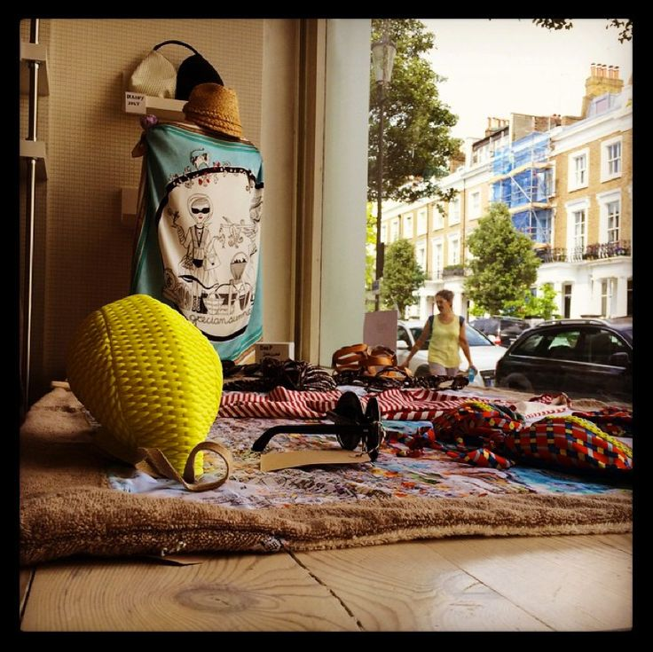 "MONO Pop Up Store window, featuring the ""Grecian Summer"" silk scarf!"