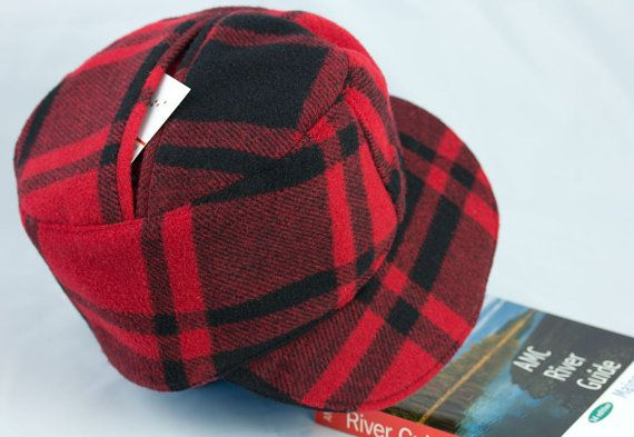 Red Camp Plaid Hat  Camping Gear Holds Fishing by CherryPatHats, $89.50