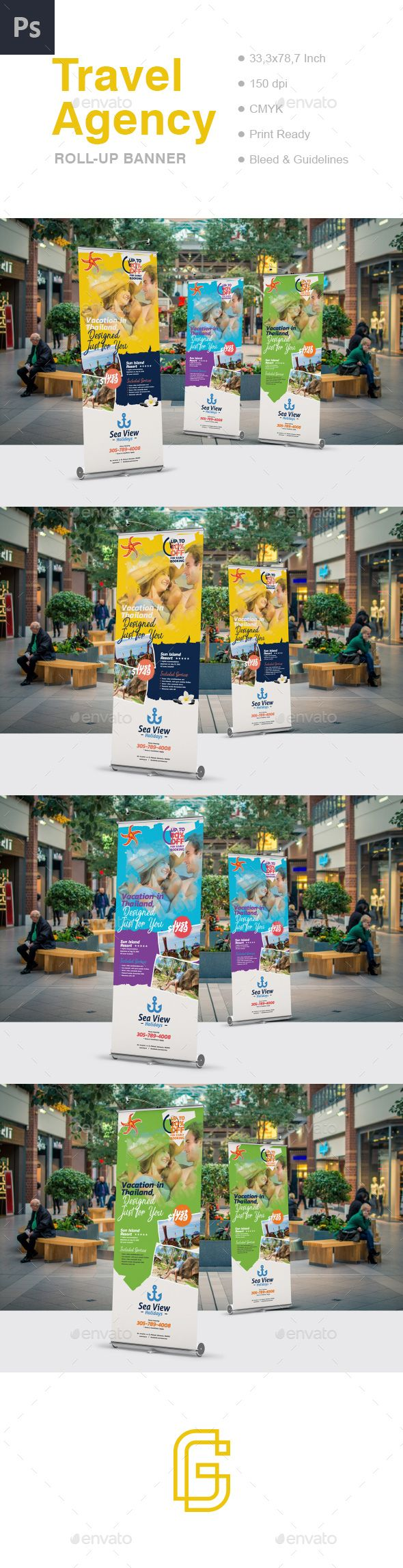 Travel Roll-Up Banner Template PSD