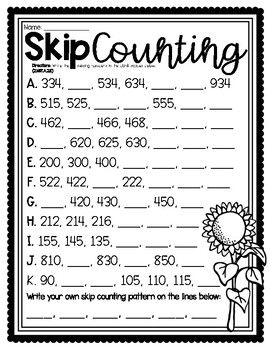 Skip Counting by 2s, 5s, 10s and 100s Worksheet | TpT in ...