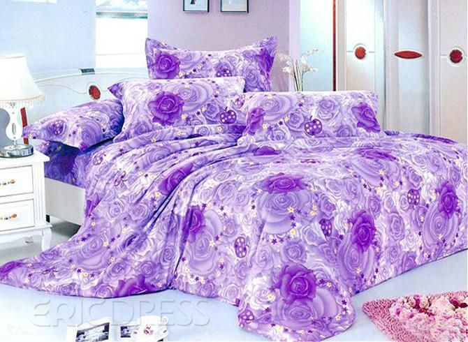 dreamlike light purple rose and wash printed 4 piece bedding sets with cotton