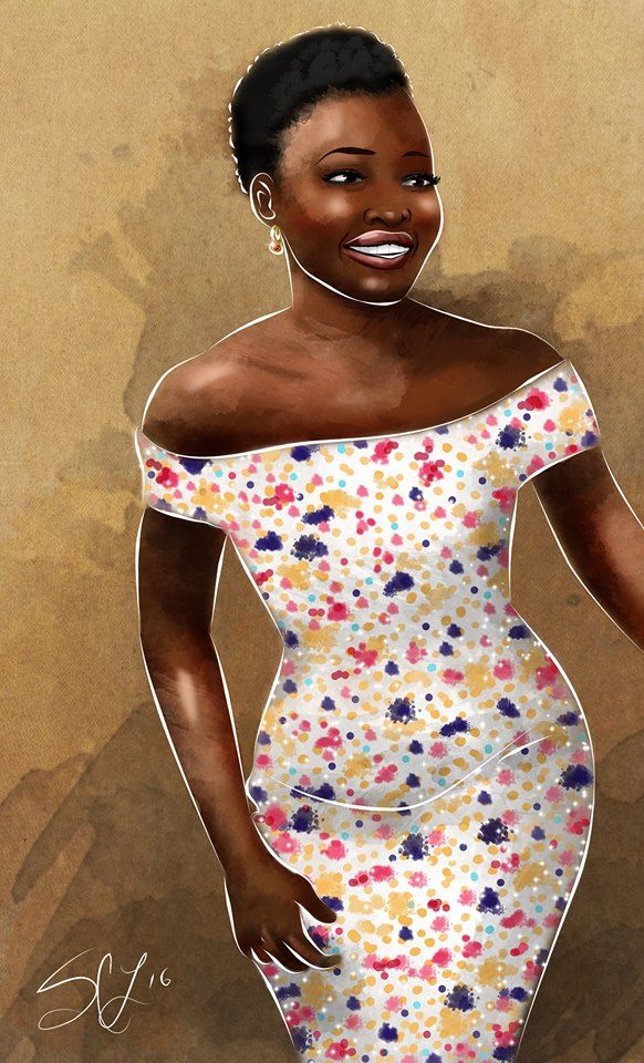 Lupita Nyong'o in Hugo Boss at the Tony Awards. #hugoboss #fashion #fashionillustration #art #artist #digital #artwork #illustration #illustrator #graphicdesign
