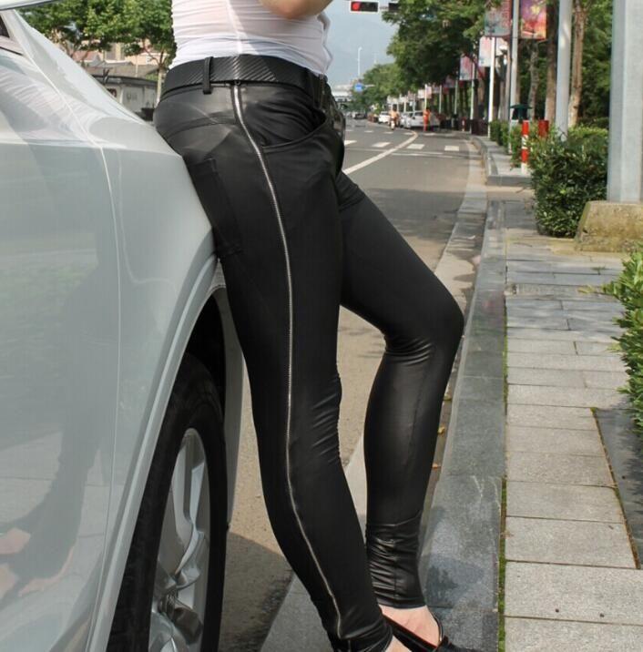 Zipper fashion sexy motorcycle faux leather pants men tight skinny trousers pu pants for mens pantalon homme black korean