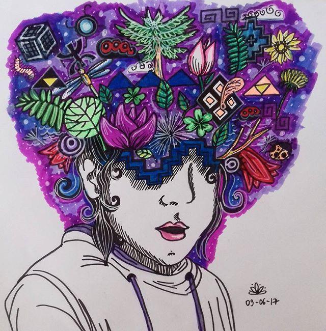 Explosión de ideas. Ideas explosion. #mapuche #explosion #head #cabeza #araucaria #copihue #ideas #purple #violeta #dibujo #drawing #sketching #mente #mind #rostro #face #helechos  #trebol