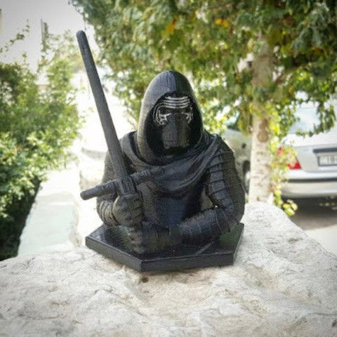 Kylo Ren from Star Wars fixed with MakePrintable. It ensured that my first print was successful. Printed on a flash forge FDM printer and then colored in the mask using a marker