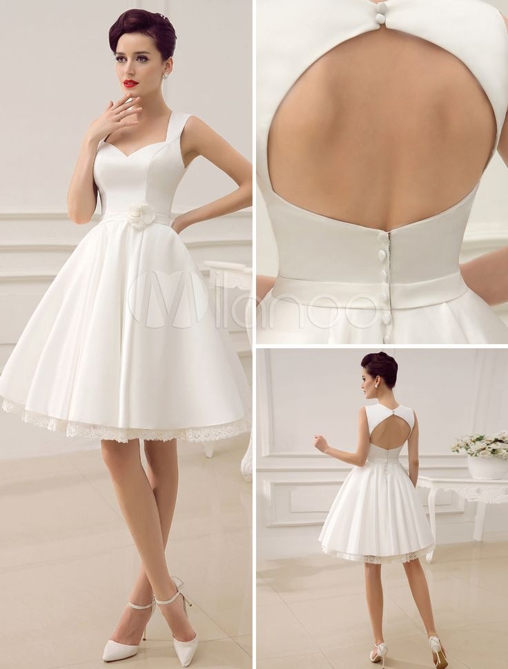 Knee-Length Cut Out Wedding Dress For Bride With Sweetheart Neck  #milanoo #wedding #dress