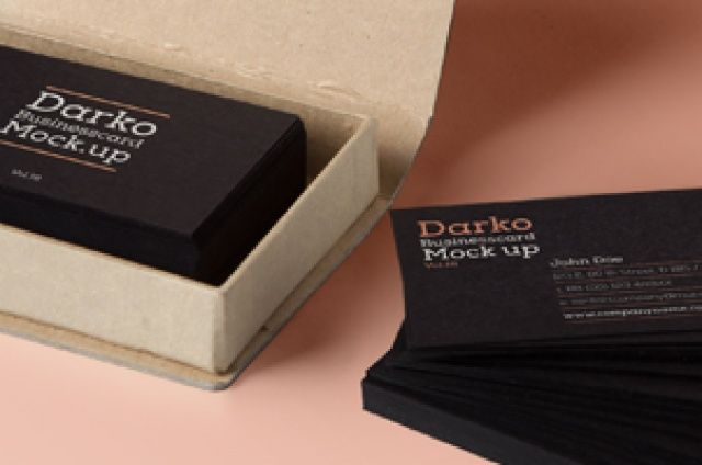 A new original psd business card mock-up template with an elegant cardboard box. Ideal for dark themed business card designs. (3,15x2...