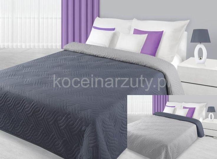 Srebno szara dwustronna narzuta na łóżko