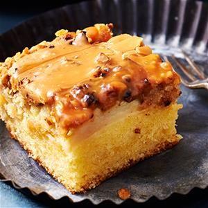 Appelkruimelcake met zoute karamel, maar dan de suiker nog vervangen.
