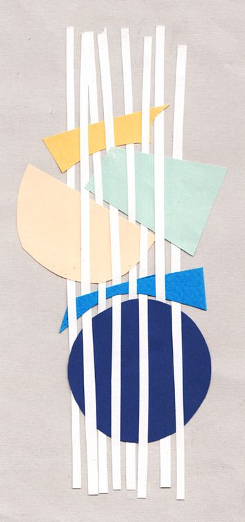 Collage by Amy van Luijk, illustrator and surface designer. Art lesson using flattened straws and paper shapes.