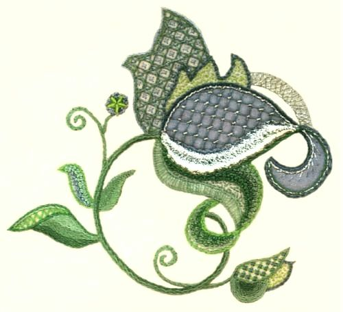 Floral Motif Modern Jacobean Embroidery Kit - a Hand Embroidery Design as an Alternative to Cross-stitch.