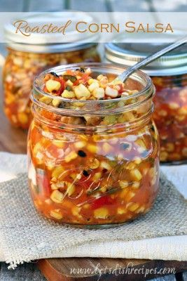 Amazing fresh ingredients fill this roasted corn salsa canning recipe so you can have this multiple layers of flavorful salsa all year long.