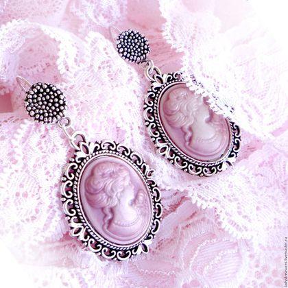 """Купить Серьги """"Mademoiselle cameo"""" с камеями цвета винтажной розы - серьги с камеями, серьги крупные"""