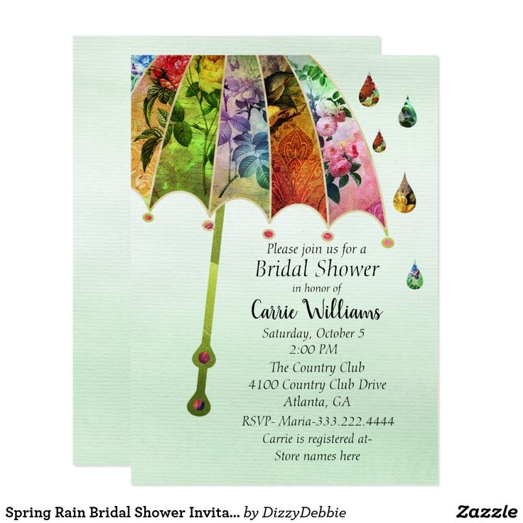 how early should you send out wedding shower invitations%0A Spring Rain Bridal Shower Invitation