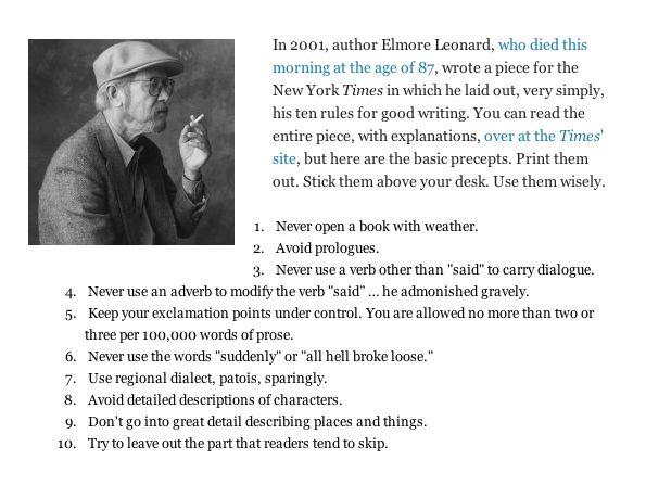 Elmore Leonard's 10 Rules of Good Writing | OH MAGIC OH ... | 595 x 447 jpeg 49kB