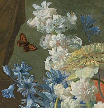 Jan van Huysum, Nature morte avec des fleurs, 1723, Rijksmuseum Amsterdam, page du musée Jan van Huysum ( 1682-1749 ) est un peintre hollandais du XVIIIème siècle, surtout connu pour ses fantastiques bouquets de fleurs qui illustrent les belles cartes de voeux sur bristol glacé. ( prononcer