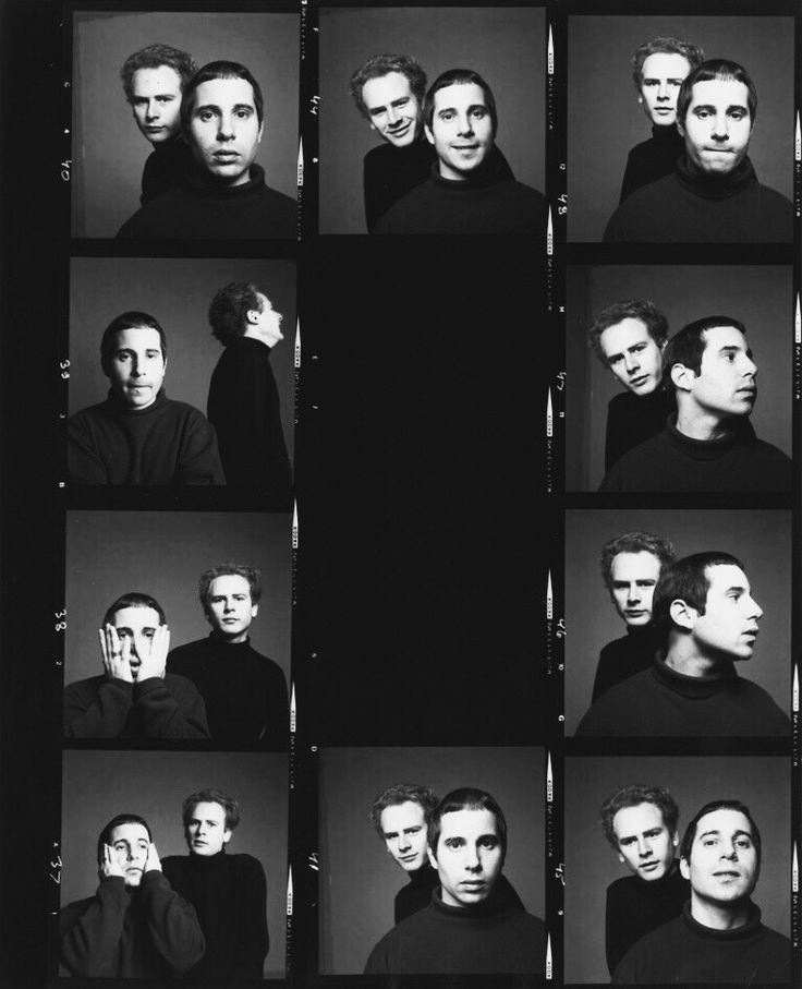 """""""Paul Simon and Art Garfunkel get photographed by Richard Avedon for their hit album Bookends, 1968. """""""