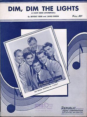 DIM DIM THE LIGHTS ATMOSPHERE BILL HALEY & THE COMETS VINTAGE 1950s SHEET MUSIC