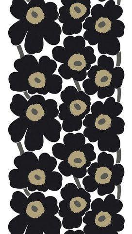 Unikko Fabric Black/White/Khaki | Kiitos Marimekko