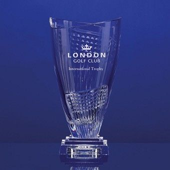 Fine Hand Cut Crystal Contemporary Trophy Vase. Approx Height 35cm. Includes your choice of engraving whether it is for an existing golf club or corporate logo or your own chosen wording. Engraved in one position.