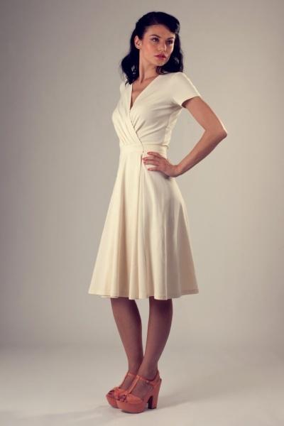 Charlotte wrap-around dress - cream, coral. Similar to Diane Lane's white dress in Under the Tuscan Sun.