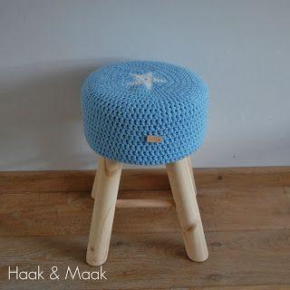 Haak & Maak: Een krukje met een ster - krukhoes haken - gratis patroon