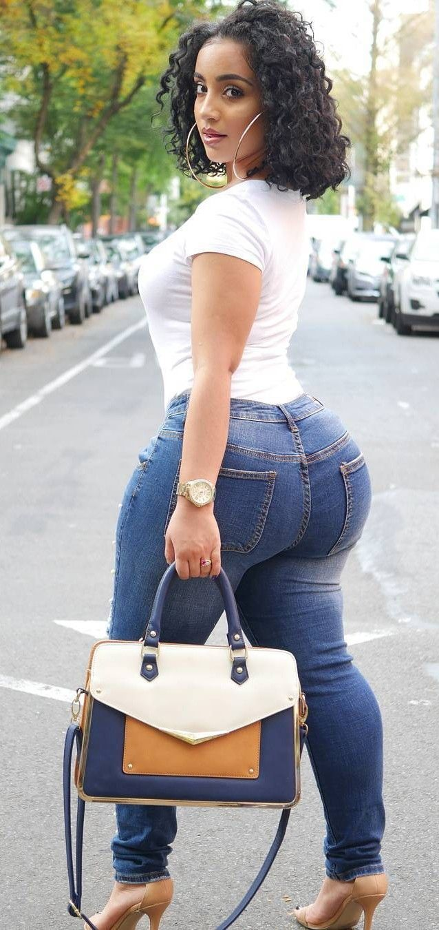 White Top, Blue Jeans, Brown Shoes, W/ Matching Bag