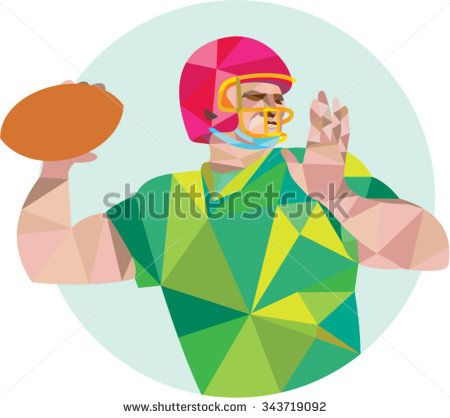 Low polygon style illustration of an american football gridiron quarterback qb player throwing ball viewed from the side set on isolated white background.  - stock vector #Americanfootball #lowpolygon #illustration