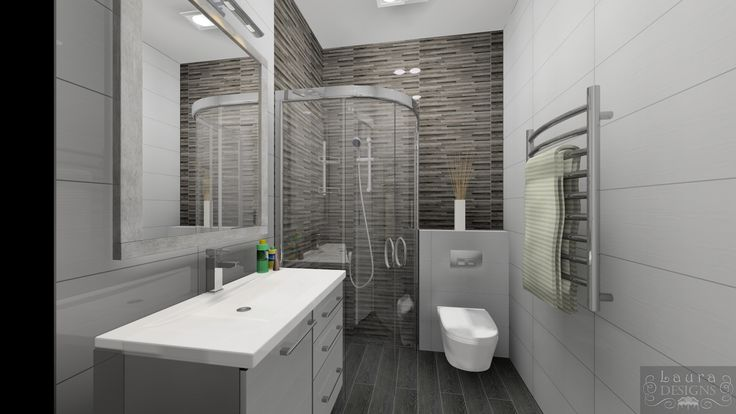 3D plan of small bathroom by Laura Designs