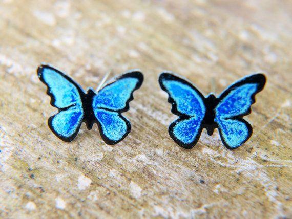 Handpainted Stainless Steel Blue Butterfly Earrings by CinkyLinky