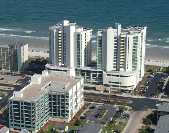 A unique aerial view of Avista Resort in Norht Myrtle Beach, South Carolina.