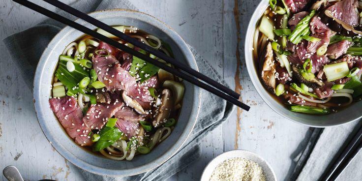 Beef + Mushroom Noodle Soup via @iquitsugar