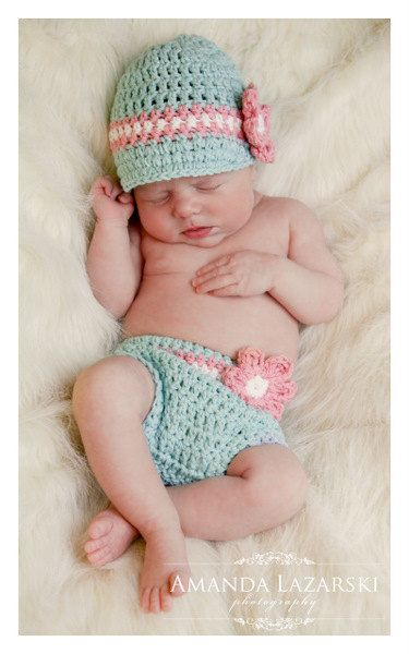 Crochet Baby Hat and Diaper Cover Set, Newborn Crochet Hats, Baby Girl Hat, Cotton Baby Hat, Blue, White, Pink, Newborn Size. $38.00, via Etsy.