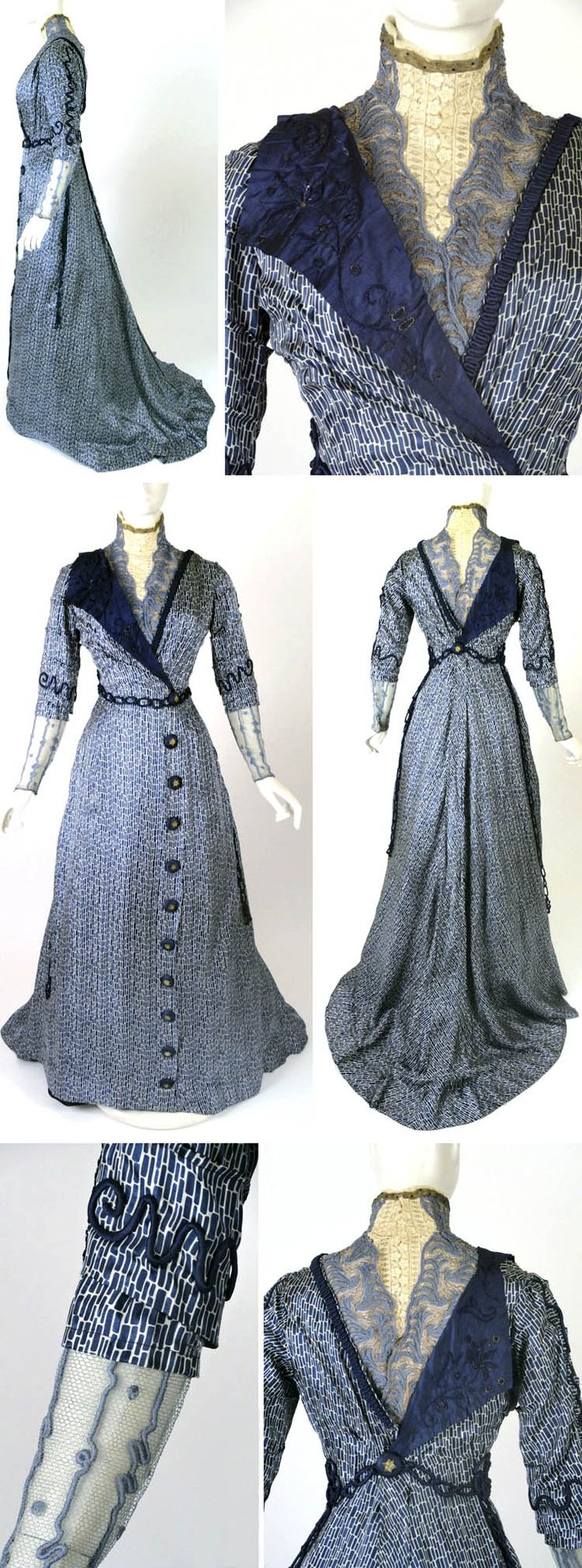 Afternoon gown, J. Franken, Brooklyn, ca. 1910, royal blue & white silk print. White lace & blue & gold embroidered net yoke. White lace standup collar edged in gold bullion ribbon & chiffon ruffle. Elbow-length sleeves w/tucks & piped trim. Silk undersleeves: blue net lower w/sky blue embroidered squiggle. Skirt w/buttons of navy silk & embroidered w/large gold stars in center. Underskirt, ivory chiffon facing yoke & satin bodice lining w/boning. Hook & eye closures back. Vintage Martini