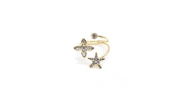 www.takiperest.com Yıldız ve çiçek desenli gold renk yüzüktür. Yüzük ayarlanabilir formdadır.