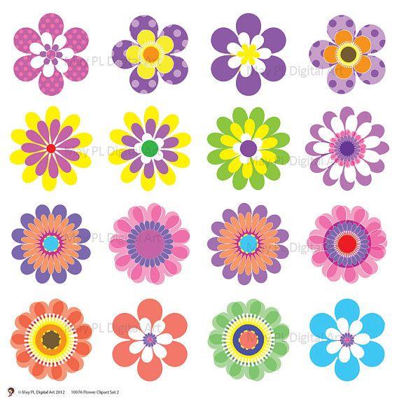 digital spring flowers clipart clip art by maypldigitalart pinned rh pinterest com black and white flower design clipart flower design clip art free