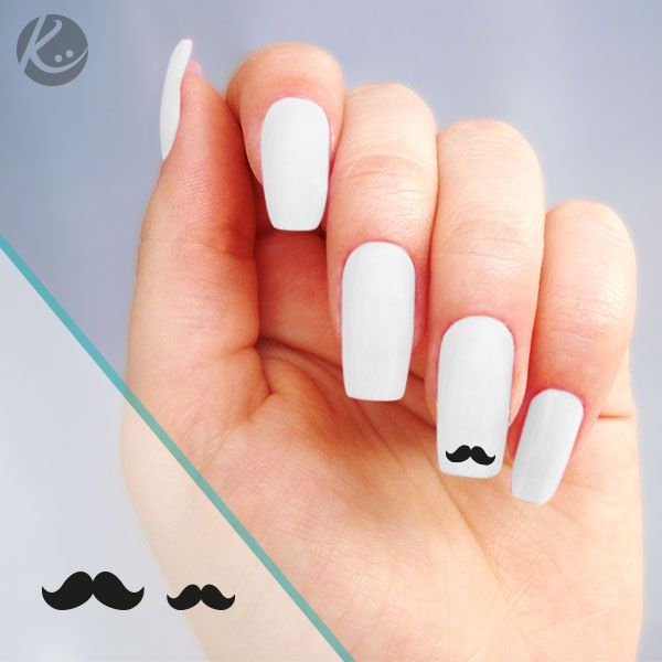 Stickers moustache nail art pour ongles disponibles sur www.optimistick.fr