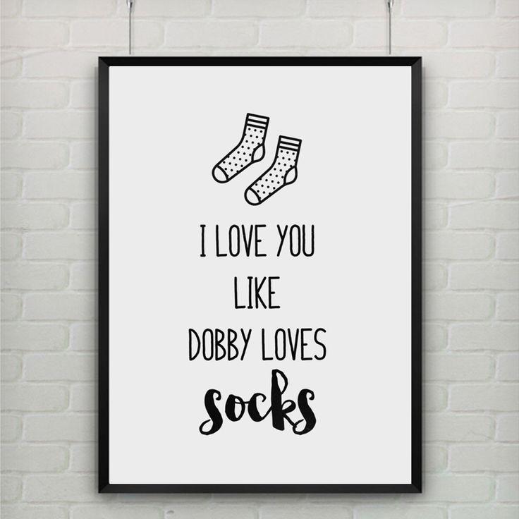 Холсте Плакат Цитата I Love You Like Dobby Любит Носки ПОЗДРАВИТЕЛЬНАЯ ОТКРЫТКА, гарри Поттер Карты, детская Комната Декор, рамка Не входит купить на AliExpress