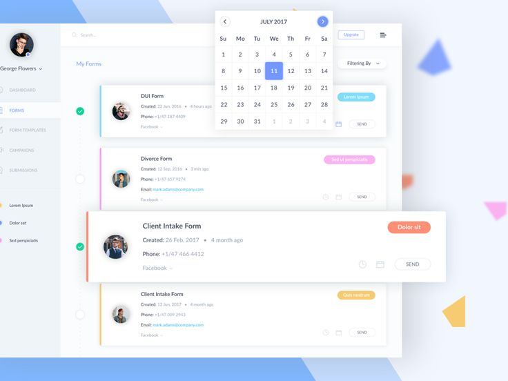 Dashboard. Client information forms.