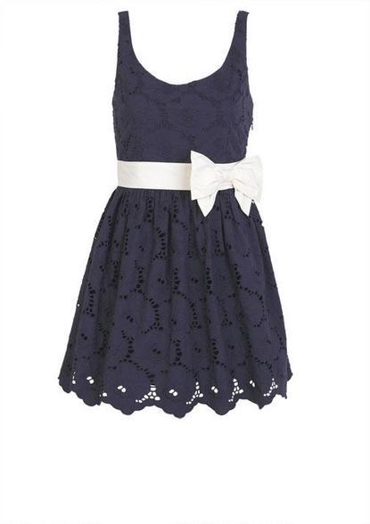 Bow Belted Eyelet Dress