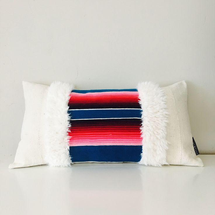 Boho Blue Turquoise Serape Pillow Cover 14x24 Lumbar Cushion Ethnic Bohemian Pink