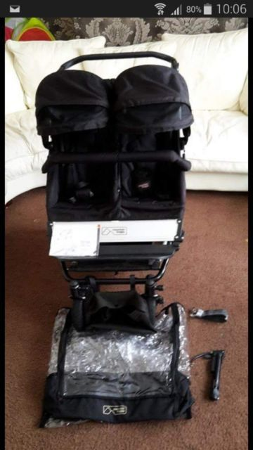 I'm selling my lovely double mountain buggy  I have used for my twin boys but i no longer use a pram for them now.  I have the rain cover, a spare inner tube, pump, bumper bar on pram, shopping tray underneath pram, X2 black foot muffs that are universal. All is in great condition has been well looked after.if your interested your welcome to come and have a look,  Collection is Hucknall, or local delivery would be acceptable with a small charge. Cash on collection only Bargain at £350…