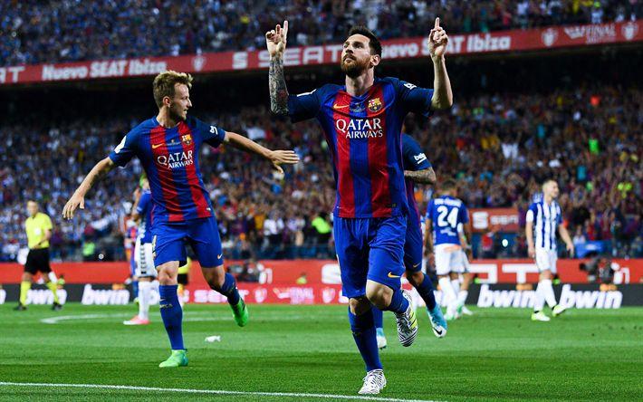 Download wallpapers Lionel Messi, goal, Barcelona FC, La Liga, football, Spanish Football Championships, Catalonia, football superstar