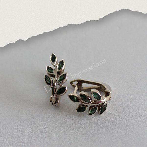 Emerald Leaf Shape 925 Sterling Silver Earrings