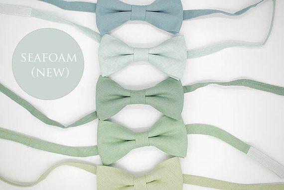 Seafoam linen, green shades bowties,matte looks,grayed jade,pistachio,hemlock,dusty shale,wedding ties,groom,groomsmen,men,green wedding set