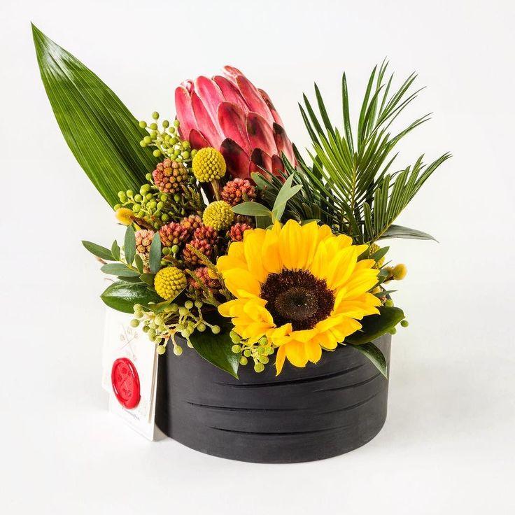 Şık olmak için soğuk olmaya gerek yok dedik ve siyahın ciddiyetini tropik ve renkli çiçekler ile ısıttık.  Ayçiçeği Cylas Revoluta ve Protea ile #Juno http://ift.tt/1TqrcDD'da!  #bloomandfresh #flowers #çiçek #floral #tropical #istanbul
